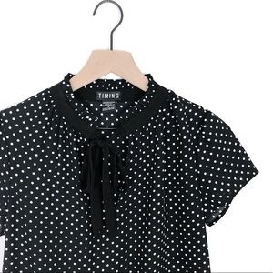 Timing Blk/Wht Polka Dot Tie Neck Blouse